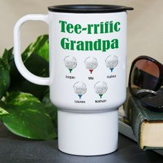 Tee-rrific Golfer Personalized Golf Travel Mugs Whether it's Dad, Grandpa, your Uncle, Brother or anyone who enjoys spending their free time playing golf, they are sure to enjoy each round of golf when they have their own Personalized Golf Travel Mug. Each Travel Mug for Golfers makes an great gift idea for Father's Day, Birthdays, or just because. Our Personalized Tee-rrific Golfer Travel Mug is dishwasher and microwave safe and holds 15oz.