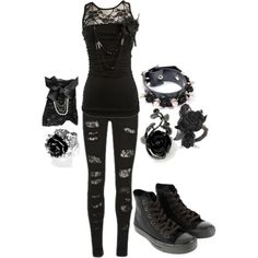 A fashion look from September 2012 featuring Converse sneakers, Disney Couture rings and MARC BY MARC JACOBS rings. Browse and shop related looks. Emo Fashion, Gothic Fashion, Fashion Outfits, Rock Fashion, Cool Outfits, Casual Outfits, Estilo Rock, Alternative Outfits, Alternative Fashion