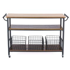 Wholesale Interiors Lancashire Kitchen Cart with Wooden Top