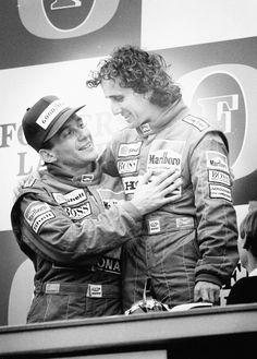 Formula 1 racing drivers Alain Prost and Ayrton Senna embracing each other on the podium of the Australian Grand Prix November 1988 Alain Prost, Mick Schumacher, Michael Schumacher, Formula 1, Australian Grand Prix, Gilles Villeneuve, Vintage Sports Cars, F1 Drivers, F1 Racing