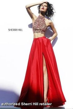 Sherri Hill - 32020 available at Miss Priss.  2-piece, crop tops are the hot trend for 2015.  Get your perfect prom, pageant, formal gown now!  This dress has a fully embellished rhinestone, crystal, beaded high neckline top.