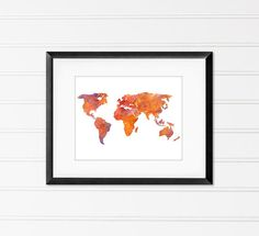 Watercolor World Map Travel Art Home Decor by MiaoMiaoDesign
