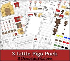 3 Little Pigs Pack! Free 3 Little Pigs Pack for ages 2 to 7 - Over 60 pages and 27 pages in a Tot PackFree 3 Little Pigs Pack for ages 2 to 7 - Over 60 pages and 27 pages in a Tot Pack Rhyming Activities, Language Activities, Book Activities, Nursery Rhymes Preschool, Preschool Ideas, Fairy Tales Unit, Fairy Tale Theme, Traditional Tales, Three Little Pigs