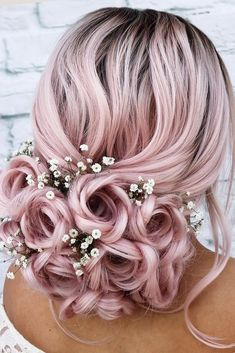 Rose Updo With Flowers ❤. - Rose Updo With Flowers ❤ Whether you prefer loose or vintage hairstyles, find the elegant wedding updos for long hair for bride or b - Box Braids Hairstyles, Bride Hairstyles, Vintage Hairstyles, Cool Hairstyles, Hairstyles Haircuts, Hairstyle Ideas, Updo Hairstyle, Wedding Hair Flowers, Wedding Updo