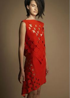 laser cut red dress