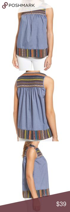 "Pleione Chambray Embroidered Top Sz Large Petite Colorfully embroidered jacquard frames a swingy tank that adds free-spirited attitude to your look. Petite sizes best fit women 5'4"" & under. - Size Petite Large--Bust: 40"", Length: 25"" - Front keyhole with button-and-loop closure - Keyhole neck - Sleeveless - Elliptical hem - 65% polyester, 35% cotton with 100% rayon contrast - Hand wash, line dry  -NWT $59 Pleione Tops"