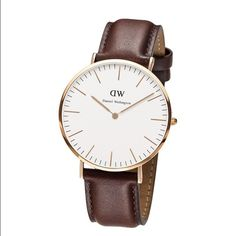 Daniel Wellington watch Brand new inspired Daniel Wellington watch , this is unisex for woman and man . Water resistant , 40mm diameter . Gold face , brown straps . Please dont lowball me this is for a great price , other sellers has this exact same watch for $45 and is it completely new , quality guarantized . Fast shipping . Serios buyers only and no trades Daniel Wellington Accessories Watches