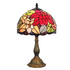 (EU Lager)D30cm Tiffany Tischleuchte Bunte Blumen Design 1-flammig im Wohnzimmer