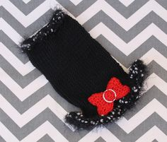 Teacup Dog Puppy Sweater Dress, Tiny XXS 2 Lbs in Merino Wool Black w/Red Bow and Ruffle Short Haired Chihuahua, Puppy Sweaters, Tiny Shorts, Teacup Puppies, Little White, Fur Babies, Merino Wool, Dogs And Puppies, Tea Cups