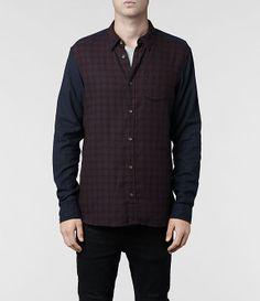 Mens Malden Shirt (Oxblood Check) | ALLSAINTS.com £85