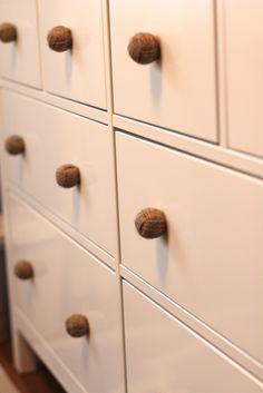 Life in Bridgetown: Nursery Projects.  Ikea hack - Hemnes dresser with jute rope drawer pulls.