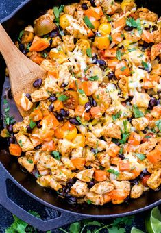 This is basically a chicken enchilada filling, studded with sweet potatoes instead of being wrapped in tortillas. It's fun and different, and the leftovers will store and reheat easily if you want to eat one serving for dinner and save the remaining three for packed lunches. Get the recipe here.