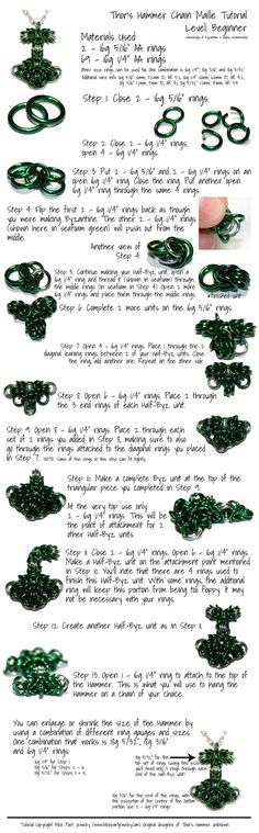 Thor's Hammer Chain Maille Pendant Tutorial by *FeMailleTurtle on deviantART