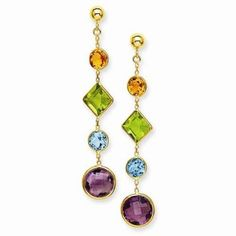 14k Yellow Gold Muti-Gemstone Post Earrings  #Jewelry #Fashion #Colorful #Gemstone #Dangle #Earring  http://www.icecarats.com