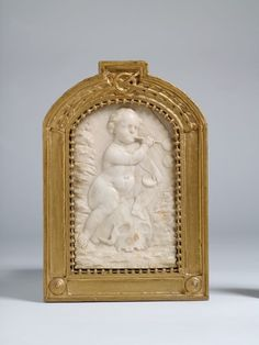Homo Bulla (Relief aus Alabaster), c. 1790. Johann Peter Wagner. H. 18,5 cm. Man is a Bubble. Alabaster; original frame: wood, gilded. The drastic impact of the work results from the confrontation of the child and the skull. The symbol of the soap bubble goes back to the Greek poet Lucian. It stands for the brevity of human life, which vanishes as quickly as a soap bubble. -Germanische Nationalmuseum, Nürnberg-