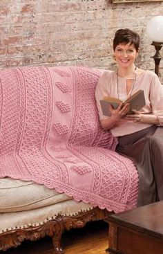 Aran Hearts Crochet Throw - using four different stitch patterns and edged - free pattern from Redheart.