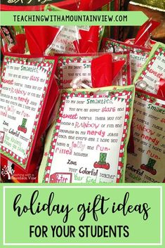 Are you sending home holiday gifts with your students (Christmas, Winter break, Kwanzaa)? Check out some easy ways to send a gift home without breaking the teacher budget! christmas without gifts Class Christmas Gifts, Christmas Presents For Teachers, Preschool Christmas, Christmas Ideas, Christmas Christmas, Christmas Goodies, Christmas Baking, Holiday Ideas, Student Teacher Gifts