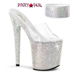 7ca7ba37d2 Sandal Featuring Rhinestones Encrusted All Over Velcro Ankle Cuff & Platform  Bottom Platform High Heels