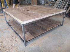 large quare Wood Coffee table with square steel Diy Coffee Table, Wood, Table, Wood Furniture, Diy Furniture, Coffee Table Wood, Coffee Table, Stainless Steel Furniture, Furniture Design