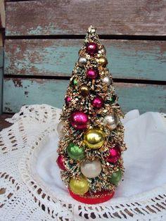 Vintage Christmas Bottle Brush Tree by primitivepincushion on Etsy, $28.99