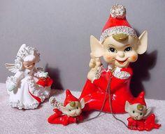 Vtg Japan Christmas Spaghetti Elf Pixie w 2 Babies on Leads + Holt Howard Angel