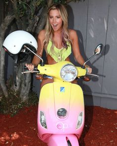 Birthday girl Ashley Tisdale shows off her new Op Vespa!