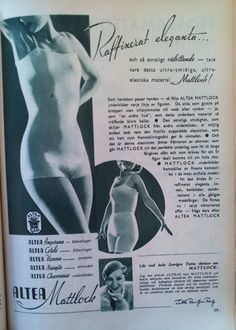 Ad for Altea Mattlock underwear - super elastic rayon/viscose without seams. 1933 The smiling lady is Norwegian born actress Tutta Rolf.