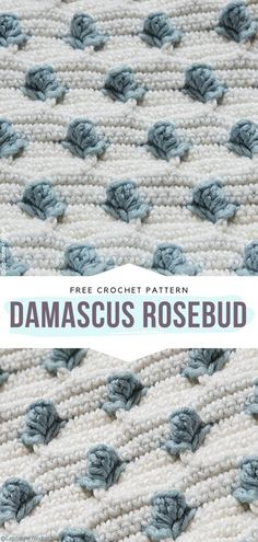 How to Crochet Damascus Rosebud,Damascus Rosebud Free Crochet Pattern Delicate flowers on a plain white background? This is the essence of pure elegance, without a doubt! Crochet Baby, Free Crochet, Knit Crochet, Yarn Projects, Crochet Projects, Crochet Blanket Patterns, Crochet Blankets, Crocheted Afghans, Afghan Crochet