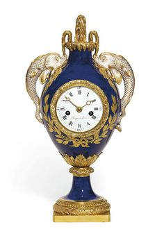 New acquisition of the Palace of Versailles (July 2013) | Dating from 1775, this lovely blue-ground vase-clock was acquired by Louis XVI from the Manufacture Royale de Porcelaine de Sèvres in 1777. It was used to decorate the mantelpiece in his Bath Chamber, which had just been installed on the first floor.