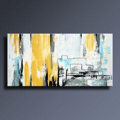 PEINTURE abstraite jaune gris blanc noir bleu peinture toile Art abstrait moderne Art contemporain décor de mur de 48 x 24 - non étirée