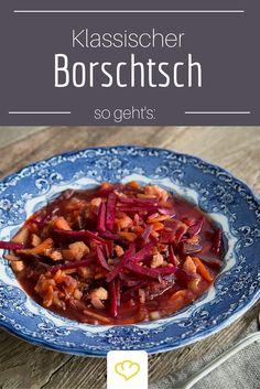 Borschtsch ist vor allem in Osteuropa sehr beliebt. Aber auch hierzulande findet die Kombination aus zartem Rindfleisch, deftigen Kartoffeln und süßer Roter Bete immer mehr Fans!