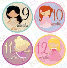 Monthly Baby Stickers Baby Month Stickers Baby Girl by babyfables