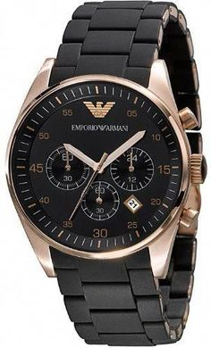 Emporio Armani Watch, Men's Chronograph Black Silicone and Stainless Steel Bracelet Stylish Watches, Cool Watches, Men's Watches, Cheap Watches, Modern Watches, Wrist Watches, Watches Online, Luxury Watches, Bracelet Cuir