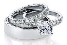 Tacori Diamond Engagement Ring with Wedding Band and matching Mens Band.