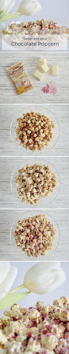 Valentine's Day Inspiration - White Chocolate Love Popcorn - More on http://www.belle-melange.com/chocolate-popcorn/