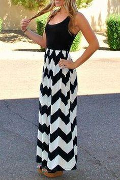 Spliced Chevron Stripes Maxi Dress