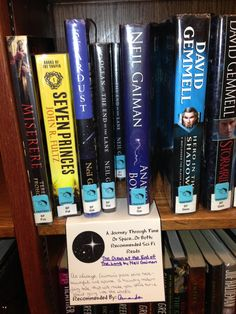 Great idea from Pickerington Public Library in Ohio.  Shelf-talkers with staff book recommendations and reviews.