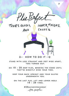 20 Days Of Movement, Day Plie Perfect Fitness Tips, Fitness Motivation, Health Fitness, Fun Workouts, At Home Workouts, Yoga, Plie Squats, Free People Blog, Butt Workout