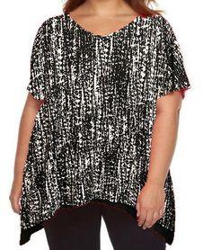 V-Neck Chiffon Trim Top 2X APT. 9 Printed Plus Size Black n Multicolor NWT #Apt9 #KnitTop #Casual