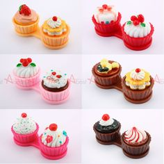 Cup Cake Cute Travel Contact Lens Case Eye Care Kit Holder Hard Mirror Box