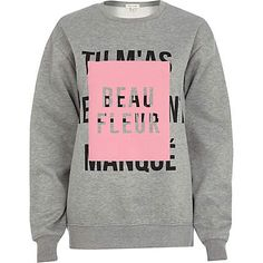 Grey beau fleur front print sweatshirt £25.00