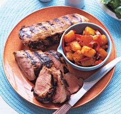 Grilled Pork Loin with Fire-Roasted Pineapple Salsa from Epicurious.com #myplate #fruit #protein
