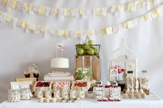 party inspired by Springtime - love the sweet fabric garland and paper and ties around the sandwiches. so sweet!