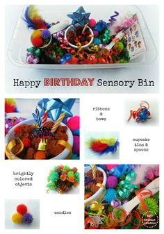 Happy Birthday Sensory Bin - what would you include in a birthday sensory tub?