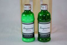Great conversational piece at your summer time bar-b-q, on your bar, or dining room table.    We have upcycled this awesome 50ml plastic Tanqueray bottles into unique salt and pepper shakers.    Salt and pepper NOT included. You will receive empty salt and pepper shakers.