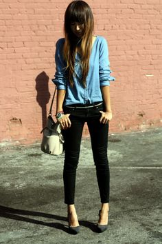 Another version of a chambray/denim shirt and black pants combo. Love the tiny belt.