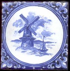Blue & White Delft Style Tile With A Windmill By Mosaic