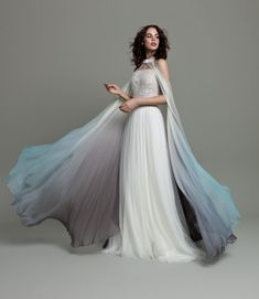 Courtesy of Daalarna Wedding Dresses; Photo: Eva Papp & Zoltan Schneider of PappSchneiderPhotography Ombre Wedding Dress, Wedding Cape, Gorgeous Wedding Dress, Colored Wedding Dresses, Mod Wedding, Dream Wedding Dresses, Bridal Dresses, Wedding Stuff, Wedding Ideas