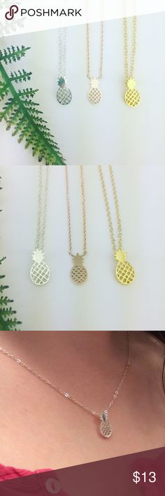 Pineapple Necklaces Pineapple necklaces in your choice of 14k rose gold plated, silver plated, or 14k gold plated! Approx 17 inches. Please note the rose gold color is slightly flatter in style. Want more than one? Ask for a custom bundle! See other listing for matching earrings!!   All Pineapple.PalmBeach jewelry comes packaged on crisp white packaging and tucked carefully into white chiffon pouches!   Suggested User! 5 Star Rated Seller!  Same or next day shipper! No trades! ❌No half price…