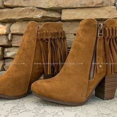 Fringe Benefits Bootie in Cognac ~ $39.95 Shop Now > http://nomijaneboutique.com/collections/shoes